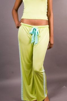 Lace Pants - 100% Silk Knit - Green with Blue Lace (Small) Everjune. $52.95