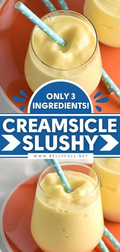 This summer drink will remind you of the classic popsicle! 3 ingredients are all you need for this Orange Creamsicle Slushy. Save this healthy slushy recipe for a delicious and refreshing 4th of July… Frozen Drink Recipes, Frozen Drinks, Summer Drinks, Fun Drinks, Pool Drinks, Beverages, Alcoholic Drinks, Cocktails, Smoothie Drinks