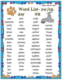 FREE au/aw word list and 11 interactive activities for teaching the au/aw spelling pattern! Phonics Chart, Phonics Rules, Phonics Words, Phonics Reading, Teaching Phonics, Teaching Reading, Teaching Art, Teaching Resources, Grade Spelling