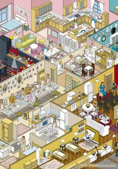Rod Hunt / Illustration and Illustrated Maps - Map Illustrator, Isometric Illustrations, Cityscapes, Infographics & Animation - IKEA Apartmentology Advertising Campaign Illustration Isometric Art, Isometric Design, Habbo Hotel, Ikea Book, House Illustration, Whale Illustration, Ligne Claire, Aesthetic Art, Cute Art