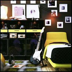 Jugendzimmer gestalten – 100 faszinierende Ideen - jungenzimmer gestalten schwarz und gelb lackierte möbel
