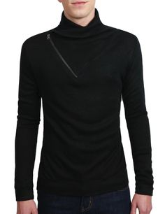 Casual Zipper Turtle Neck - This site is sized for and tailors it's clothing to Korean Men and Women. The clothes are not only smaller, but slimmer. Be wary if you are broad shouldered or broad chested to order 2 sizes up, rather than the 1 recommended. The shirts from the men's section are very flattering on women, though. I love this sweater on me.