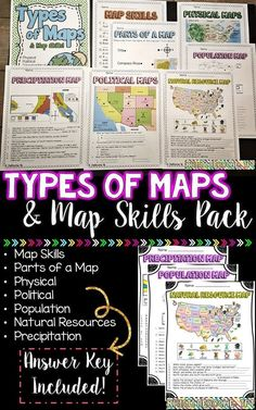 Types of Maps and Map Skills Pack! Great activity for the beginning of the school year to assess students map skill knowledge! Physical, Political, Population, Natural resources, and Precipitation Maps! 3rd Grade Social Studies, Social Studies Lesson Plans, Social Studies Classroom, Social Studies Resources, Teaching Social Studies, Teacher Resources, Social Stories, Teaching Map Skills, Teaching Maps