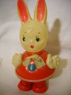 Baby Rattle Girl Bunny c1930s Japan Celluloid by HolidayLegacies