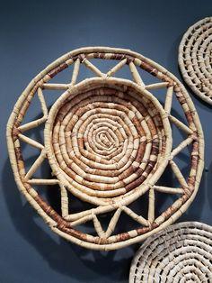 Woven Basket Wall Art set of woven wicker wall baskets - woven trivets - woven tray