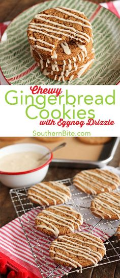 These easy Chewy Gingerbread Cookie with Eggnog Drizzle are sure to be your new favorite holiday cookie recipe!