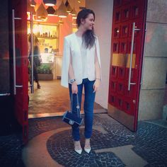 Jeans: Saint Laurent • Top & Jacket: Zara • Shoes: Valentino • Bag: Chanel
