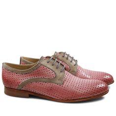 Derby Schuhe Sally 17 Venice Perfo Diamont Rose Venice Smog LS Natural