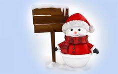 Download wallpapers 3d snowman, winter, snowmen, snow, wooden index