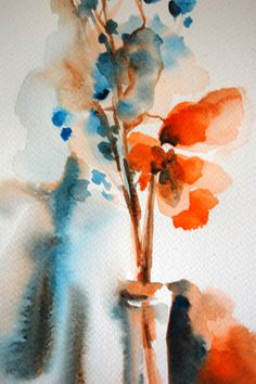Original Watercolor Painting Abstract Flowers Still Life Orange Turquoise on Etsy, $82.00