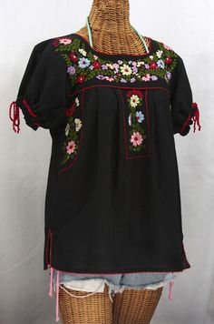 "Siren's ""La Antiguita"" Embroidered Mexican Style Peasant Blouse - Black + Red #sirenbrand #mexicandress #mexicanblouse #bohemian #hippie #peasant #summerfashion"