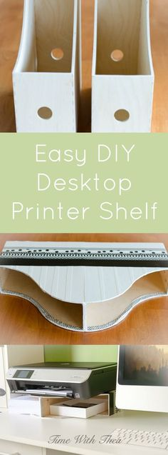 Easy DIY Desktop Printer Shelf ~ Tutorial showing how to easily create a space saving storage shelf on a desktop for your printer and printer paper! / timewiththea.com