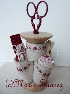 This listing does not include wooden spool. Here is another unbelievably adorable design from Marie Suarez! Wooden Spool Crafts, Wooden Spools, Sewing Box, Sewing Notions, Sewing Kits, Counted Cross Stitch Patterns, Cross Stitch Embroidery, Marie Suarez, Sewing Crafts