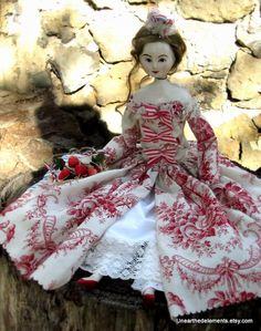 lovely art doll in 18th century fashion of red and cream toile
