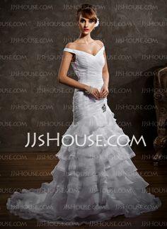 Wedding Dresses - $189.99 - A-Line/Princess Off-the-Shoulder Court Train Organza Satin Wedding Dress With Ruffle Lace Beadwork (002008188) http://jjshouse.com/A-Line-Princess-Off-The-Shoulder-Court-Train-Organza-Satin-Wedding-Dress-With-Ruffle-Lace-Beadwork-002008188-g8188