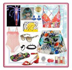 """stranded on an island"" by jennross76 ❤ liked on Polyvore featuring MANGO, Suboo, Vitamin A, Arizona, Gandys, Bettye Muller, Shamballa Jewels, Dolce&Gabbana, Eos and tropicalprints"
