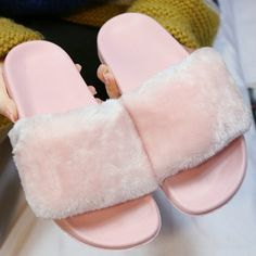 Women's Brand Fashion Faux Fur Female House Slides Plush Slippers flipflop Lady Sandals Fluffy Platform Flip Flop Shoe For Women