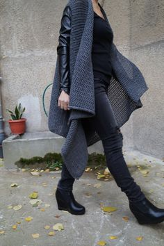 Gray Asymmetrical Cardigan/Oversized Sweater/All Season Coat/Extravagant Top With Leather Sleeves/Handmade Item/High Quallity Vest/F1525