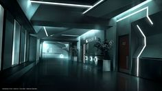 Raiden Tech building hallway at night.