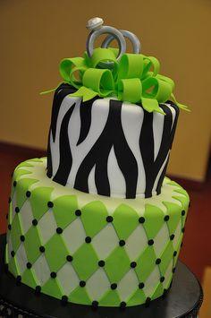 Green & Zebra Engagement Party Cake w/ Gum Paste Rings