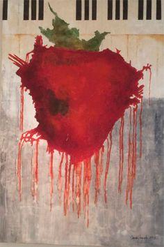 DULCE MELODÍA. Óleo sobre madera. 1.00 x 1.50 m. Ángela González 2015 #strawberry #angeladearte