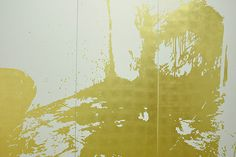 José Ángel Vincench, Pintura de Acción No 1. (Paint on Action), 2015. Gold leaf on canvas, 79 x 118 3/4 in. (triptych)