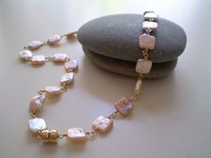 Pink Square Coin Pearl Necklace Pearl Necklace  by FMBdesigns, $250.00