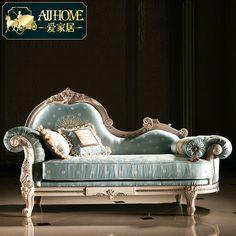 爱家居 法式新古典布艺实木贵妃沙发椅懒人椅太妃椅美人榻MB195