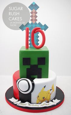 Minecraft Pokemon mashup cake - Add some Star Wars and this would be David's ideal cake!