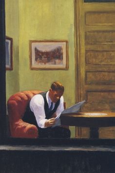 Room in New York, detail, 1932. EDWARD HOPPER Sheldon Art Gallery, Sheldon
