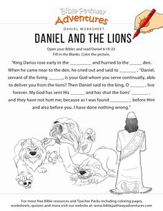 Daniel and the Lions worksheet | FREE download! Bible Activities For Kids, Bible Stories For Kids, Bible Study For Kids, Bible Lessons For Kids, Kids Bible, Church Activities, Daniel In The Bible, Daniel And The Lions, Kids Sunday School Lessons