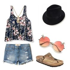 """Walks"" by ksavchuk ❤ liked on Polyvore featuring Hollister Co., Aéropostale and Birkenstock"