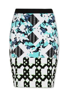 Preview the Peter Pilotto x Target Collection - Pencil Skirt in Light Blue Floral/Check Print from #InStyle