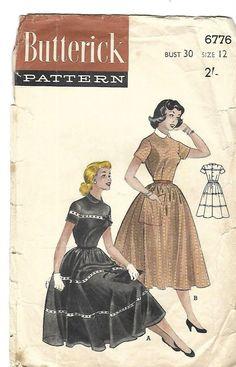 "Vintage 1950's Sewing Pattern Butterick 6776 Sweet Rockabilly Dress Teen B 30"" #butterick"
