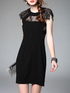 Lace Paneled  Mini Dress | Black | Stylewe.com
