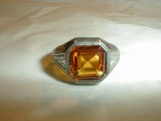 antique sterling silver citrine crystal by qualityvintagejewels, $125.00