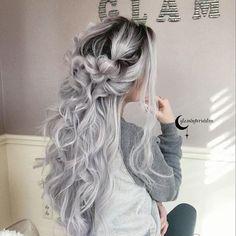 Buy Fashion Grey Wig Cosplay Long Curly Wavy Hair Full Bangs Synthetic Hair Wig(Color:Black+Gray) at Wish - Shopping Made Fun Grey Hair Wig, Wavy Hair, Emo Hair, Dyed Gray Hair, Blorange Hair, Frizzy Hair, Thin Hair, Ombre Hair Color, Cool Hair Color