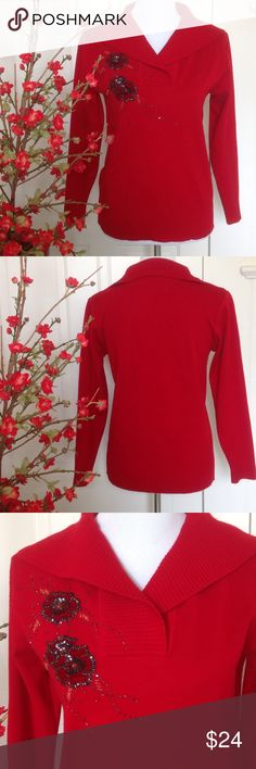 "Floral Bling Red Sweater 65% Ramie, 35% Cotton.  Show your Pizazz with this Bright Red Sweater with Floral Bead, Sequin and Velvet Statement.  No Mfg. Lavel. Made in China. Gently Used. Approx. 24 1/2"" shoulder to Hem. Approx. 18 1/2 Pit to Pit. Sleeve length approx. 22"" No Size Label. My guess would be M/L.  Really Cute. Ready for Holidays or Night Life. Sweaters V-Necks"
