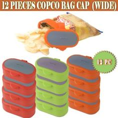 Copco Wide Bag Cap - For easy and fresh storage - Pack of 12 (Assorted Colors)