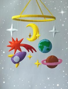 Space Baby crib mobile Nursery decor Rocket mobile Star mobile Baby crib mobile Space nursery Baby shower gift Felt mobile Cot mobile (60.00 USD) by ZooToys