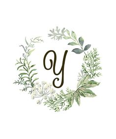 Monogram Y Forest Flowers And Leaves by floralmonogram