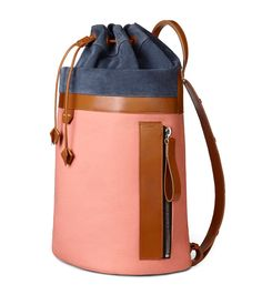 Acne Studios Trash coral pink Drawstring backpack  ugh that bucket bag feel with the flat back and side pocket.