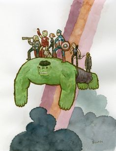 """""""Caring for Others"""" by Scott Campbell, as part of the Avengers art show at Gallery 1988 in L.A."""