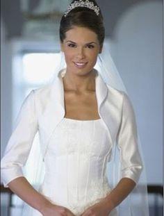 3/4 sleeve Satin Jacket Stole Shrug Bolero Matching Bridal Wedding Dress Stock