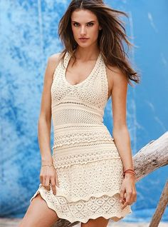 Crocheted Halter Dress by Jackson