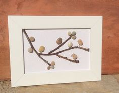 Pebble Art, Birds On A Branch: Beach Pebble Picture in White Frame/Wall Art/Stone Art, Pebble Art, Stone Picture, Gift Idea