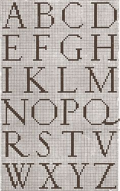 alfabet Cross Stitch Quotes, Cross Stitch Boards, Cross Stitch Letters, Simple Cross Stitch, Cross Stitch Samplers, Cross Stitching, Cross Stitch Embroidery, Crochet Alphabet, Cross Stitch Alphabet Patterns