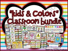"""""""Kids & Colors"""" Classroom Bundle from The Teaching Treehouse on TeachersNotebook.com -  (630 pages)  - This enormous 630 page classroom d�cor bundle contains everything you need to make your room colorful & cohesive! This is all of my �Kids & Colors� products combined at more than a 50% discount."""