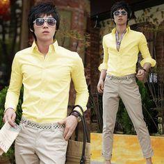 Yellow Mens Cotton Slim FIT Shirt MEN Business Casual Dress Shirt TEE TOP XS XL | eBay