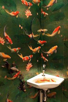 Koi and lotus wallpaper. Please contact Avondale Design Studio. Lotus Wallpaper, Wallpaper Wall, Bathroom Wallpaper Fish, Bathroom Mural, Wallpaper Samples, Wallpaper Ideas, Wc Decoration, Corner Basin, Interior And Exterior